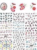 Adesivo per Unghie, Fascigirl 50 Pezzi Sticker Decorativo Chiodo Fiore Stencil per Unghie Decalcomania per Unghie