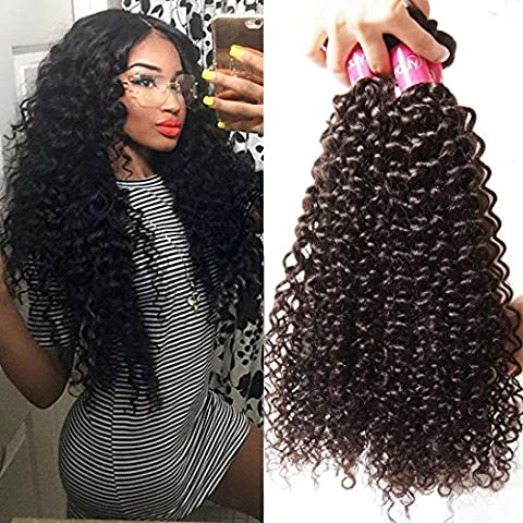 Longqibeauty® 4 Bundles Pack of JERRY CRULY Brazilian Hair Weave Extensions Virgin Curls Hair Weft 100% Human Hair Natural Black Color 8inches-26inches (18inch 20inch 22inch 24inch)