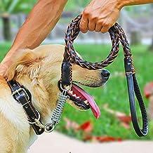 Correa de Perro de Cuero, Motionjoy Trenzado de cuero correa de perro formación a pie de plomo para perros grandes medianos - Negro