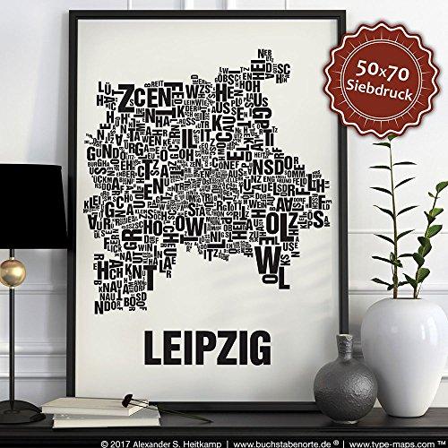 Leipzig Buchstabenort Schwarz auf Naturweiß