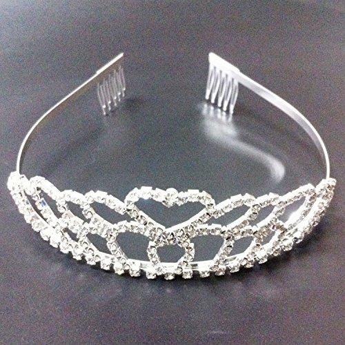 Gleader Partido nupcial de la boda de dama de honor del corazon de cristal rhinestone venda de la corona de la tiara