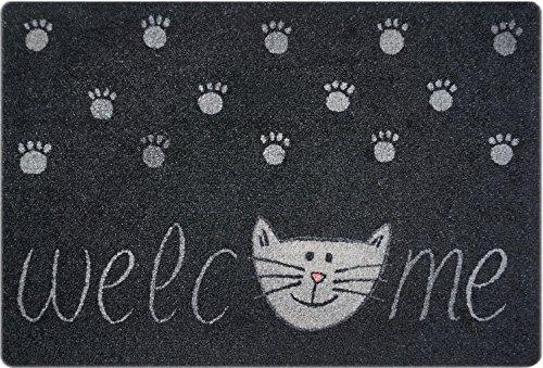 deco-mat Fußmatte Katze - Fussmatte Innen, Rutschfest, waschbar - Schmutzfangmatte - Fussabtreter - Türmatte 40x60 cm