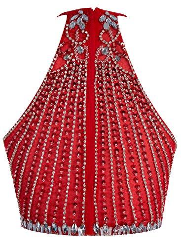Bbonlinedress Robe courte de soirée de cocktail Robe de bal emperlée deux pièces Marine
