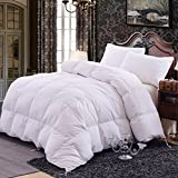 Topsleepy Luxurious All Season White Goose Down Duvet 10.5 Tog Comforter, Cotton Downproof Fabric 300 TC (Queen Size)