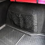 Organiseur filet Netronic à fixation en Velcro pour voiture, coffre, banquette arrière, poche de rangement, sac à provisions (40x 25cm)
