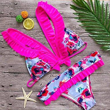 KLDDZQ da bagno donna Per donna Con bretelline Floreale Solidi Con stampe Monocolore Bikini Costumi da bagno Vintage Romantico Sensuale sofisticato,Poliestere fuchsia