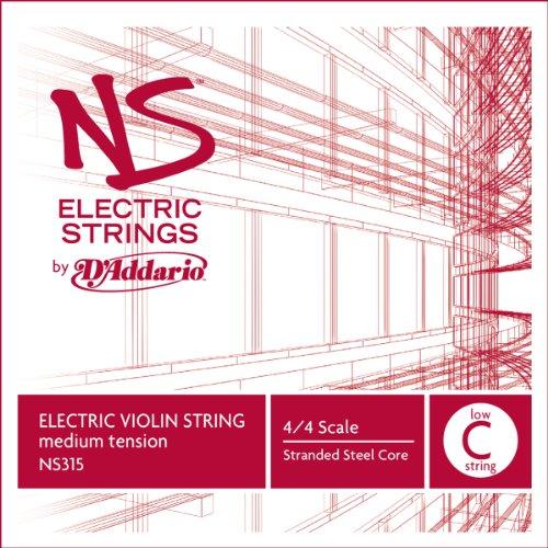 D\'Addario NS315 Elektrik-Violinen Einzelsaite \'Low C\' mehrfach verdrillter Stahlkern Medium
