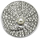 Elixir77UK Silver Colour Round Shell Gift Pin Brooch With Plain Crystals and Faux Pearl