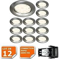 LOT DE 12 SPOT LED ENCASTRABLE COMPLETE RONDE FIXE ALU BROSSE eq. 50W BLANC NEUTRE