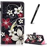 Slynmax Coque Galaxy S7 Edge Fleur Rouge Peint Mode PU Cuir Étui Samsung Galaxy S7...