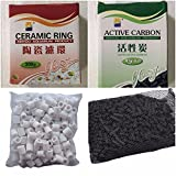 COLOURFUL AQUARIUM Aquarium Fish Tank 300g Activated Carbon + 300g ceramic rings with Net Bag