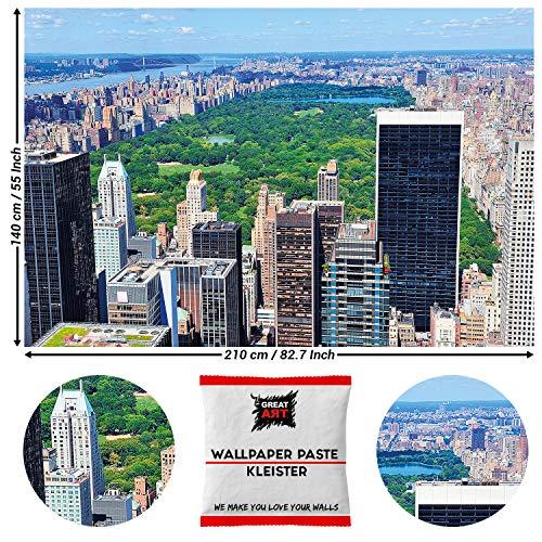 GREAT ART Fototapete New York Central Park 210 x 140 cm - Natur Wanddekoration Manhattan NYC Plakat USA Amerika Großstadt Dekoration Wandbild - 5 Teile Tapete inklusive Kleister