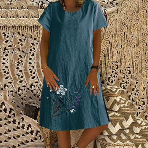 CCOOfhhc Damen Kleid Sommer O-Ausschnitt Boho Kurzarm Strand Mini Kleid Polka Dot Baumwolle Loose T-Shirt Short Dress - Mehrfarbig - X-Groß