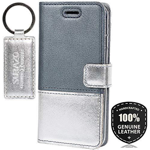 Pearl Blau/Silber - Duo Premium Vintage Ledertasche Schutzhülle Wallet Case aus Echtesleder Farbe Mehrfarbig für Lenovo/Motorola Moto G5 Plus (5,20 Zoll)