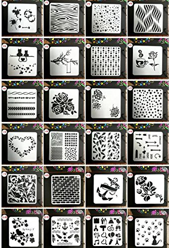 Juuly stilvolle Schablonen zum Nachzeichnen, ausgestanzte Vorlagen zum Verzieren und Verschönern von Grußkarten, Tagebüchern, usw., 24 Stück (Schablone Zum Malen)