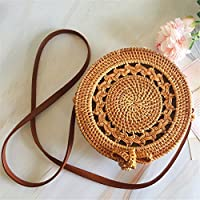 Flower205 Bohemia Style - Bolso de mano de estilo vintage de ratán con diseño de paja redondo, 20 cm de diámetro, 7 cm de grosor, bolsa de almacenamiento para el hogar para mujer