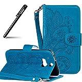 BtDuck HTC One M8 Hülle, Brieftasche Flip Cover PU Leder Schutzhülle HTC One M8 Folio Tasche Geldbörse Cases Handycover Handytaschen Credit Card Holder Slots Handyhülle (Blau)