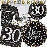 XXL-Partyset * SPARKLING CELEBRATION * für den 30. Geburtstag // mit Teller + Becher + Servietten + Tischdecke + Konfetti + Banner + Folienballon // Set Party Motto Dreißig