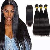 Ladiary cheveux naturel bresilienne avec closure lisse 10A Top Qualität cheveux humain bresilienne lisse avec closure frontale vierge extension cheveux naturel 340g pouce