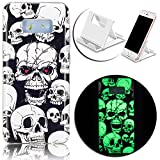 All Products : Galaxy S8 Plus Luminous Case,Vandot Soft TPU Transparent Back Cover Ultra Thin Slim Fit Non-Slip Anti-Scratch Durable Effect Fluorescent Night Glow In The Dark Cover Case for Samsung Galaxy S8 Plus-Halloween Cool Skull+Phone Holder