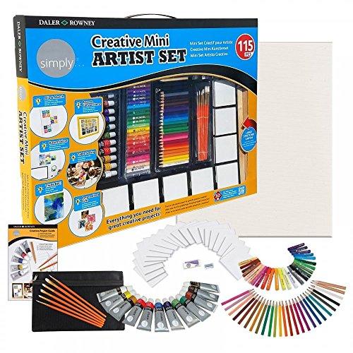 115tlg Daler Rowney XXL Malset & Zeichenset für Kinder + Erwachsene mit Künstler Acryl-Farbe, Keilrahmen, Stifte & mehr