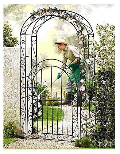 ABC Home Garden 22054 Pflanzen Bogen, Rosenbogen mit Tor, Rankhilfe, Schwarz, 43 x 115 x 215 cm (Freistehende Tor Tür)