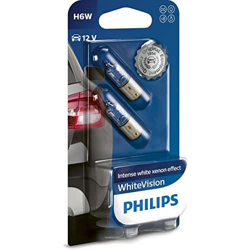 Philips WhiteVision Effetto Xenon H6W lampada auto 12036WHVB2, blister doppio