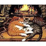 DAMENGXIANG DIY Handbemalte Digital Ölmalerei Kamin Cartoon Tier Katze Moderne Abstrakte Kunst Bilder Für Wohnzimmer Home Decor