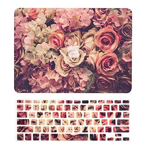 TOP CASE Floral Pattern Gummi Hard Case + Tastaturabdeckung für MacBook Air 13