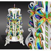 Geschnitzte Kerze- für Mama-Regenbogen -Kerze