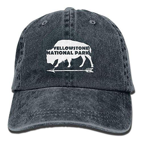 Stone National Park Old Faithful Buffalo Plain Adjustable Cowboy Cap Denim Hat for Women and Men C7 - Buffalo Fitted T-shirt