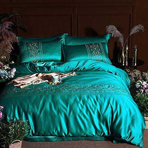 XXTT 4 Stück Bettwäsche 100% Baumwolle Bettbezug Bettwäsche Bettbezug Königin Seide Bettbezug Kissenbezüge Set,Green,L -