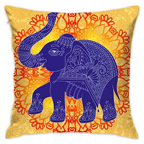 XCOZU Fundas de cojín Decorativas con diseño de Elefante Indio Morado, Fundas de Almohada Coloridas para sofá, Dormitorio, Coche, con Cremallera Invisible, 18 x 18 Pulgadas