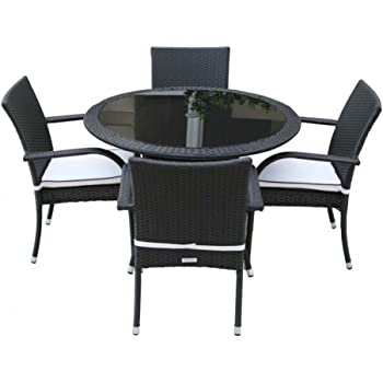 Rattan Garden Furniture 4 Seater Roma Outdoor Dining Set Small Round