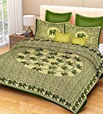 #8: RajasthaniKart Classic Feather 144 TC Cotton Double Bedsheet with 2 Pillow Covers - Green