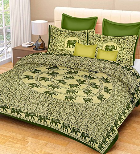 RajasthaniKart Classic Feather 144 TC Cotton Double Bedsheet with 2 Pillow Covers...