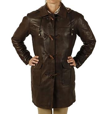 Ladies 3/4 Length Brown Leather Duffle Coat: Amazon.co.uk: Clothing