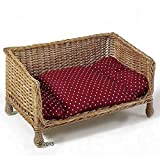 Wicker sofa cats dogs cushion handwoven sleep catnap chilling