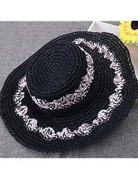LVLIDAN Sombrero para el sol del verano Lady Anti-Sol Playa sombrero de paja plegable negro