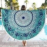 Goodsatar Poliéster Redondo playa Piscina Manta de la toalla de la ducha del hogar Paño de mesa  Estera de yoga 150X150cm (Verde)