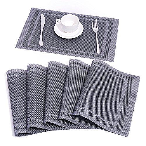 Baoyouni Platzdeckchen Rutschfest Tischmatten Esstisch Tischsets Hitzebeständig Anti-Rutsch Abwaschbar PVC Woven Vinyl Küche Dekor, 6er Set
