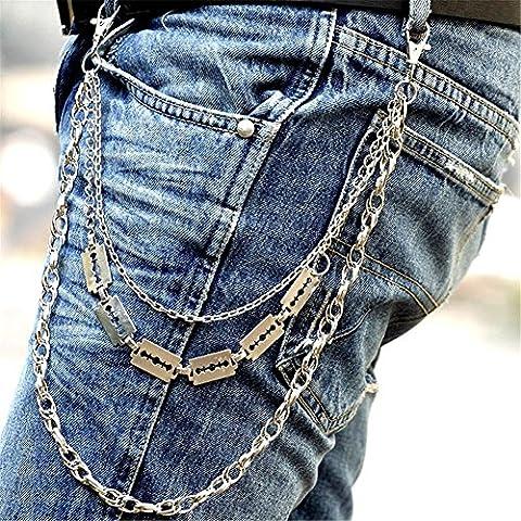 catena di pantaloni moda Hip Hop Punk pantaloni pantaloni portafoglio chiave catena Motorcyle Jean Gothic Rock , white