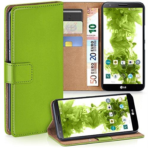 moex LG G2 | Hülle Grün mit Karten-Fach 360° Book Klapp-Hülle Handytasche Kunst-Leder Handyhülle für LG G2 Case Flip Cover Schutzhülle Tasche