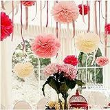 Talking Tables-Pompon in panno carta per matrimoni, confezione da 9, Christmas & Vintage con decorazioni per feste