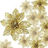 Boao 24 Pezzi Poinsettia Glitterata Ornamento dell'Albero di Natale Fiori di Natale Ornamento Decor, 3/4/ 6 Pollici (Oro)