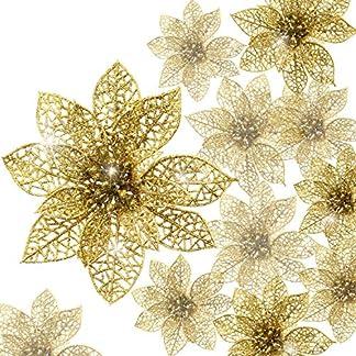 Boao 24 Piezas de Poinsettia Brillante Adorno de Árbol de Navidad Flores Navideñas, 3/4/ 6 Pulgadas