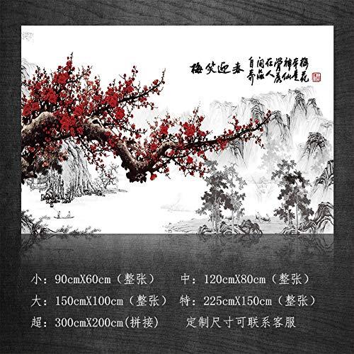 AITU WandtattoosWandbilder Fließendes Wasser und Reichtum, chinesische Landschaftsmalerei, Feng Shui, Berg, glückliches Wandgemälde, Selbstklebende Wohnzimmer Fernsehhintergrundwand, 300 * 200cm -
