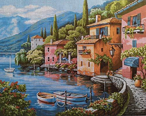 Hudemas Gobelin Stickbild Stickpackung Italienische Landschaft halber Kreuzstich 50x40cm inkl Sticktwist cod 465