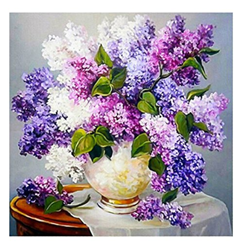beautijiam® 5D Diamond Painting Full Kits, Romantic Lavender DIY Rhinestone Embroidery Cross-Stitching Set Mosaic Home Room Decoration