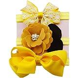 K-youth® 3pcs Niños Elásticos Diadema Floral Pelo Niñas Bebé Bowknot Hairband Conjunto Mariposa Niñas Banda Para La Cabeza Di
